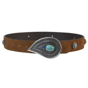 turquoise buckle belt-caramel